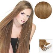 Gzhuang 20PCS Tape In Hair Extensions #8 Ash Brown 40g 41cm 50cm 100% Human Hair For Women , ash brown