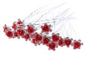 1 Pack of 10 Red Crystal Flower Hair Pins Wedding Hair Accessories