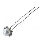 Wedding Hair Accessories – 1 Set of 10 Rhinestone Pearl Hair Pins White