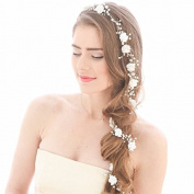 ROKOO Bridal Fake Pearl Hair Vine Long Hairpiece Headband Hair Jewellery Wedding Hair Accessories