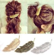 CINEEN Metal Hair Clips Vintage Leaf Shape Hair Grips Clamps Set Headwears Hair Accessories Pack of 3
