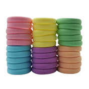 CHUANGLI Thick Hair Elastics Cotton Stretch Hair Ties Bands Rope Ponytail Holders Headband Hair Accessories,20 Count Multicolor