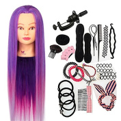Neverland Beauty 70cm 100% Synthetic Purple Fibre Hair Hairdressing Training Head Manikin Doll Head with Clamp Stand Practise Mannequin + Hair Styling Braid Set