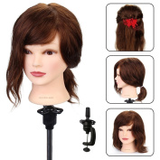 Neverland Beauty Training Head Hairdressing 30cm 100% Real Human Hair Styling Practise Mannequin Manikin Dolls Head With Table Clamp Holder #4