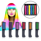 Hair Colour Comb, Kapmore 6 Pcs Hair Comb Mini Disposable Hair Beauty Tools with 6 Pcs Hair Chalk