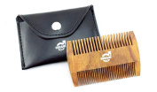 Urbane Men Double Sided Indian Rose Wood Beard Comb - Anti-Static & Pull Free - Free Case