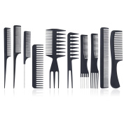 Styling Comb Set - Meersee 10pcs Professional Hairdressing Comb Carbon fibre Salon Hair Styling Hairdresser Barbers Combs set