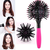 Hair Brush, 360° 3D Bomb Curl Brush, 3D Hair Brush Ball, Hair Bomb Black Bomb Curl Brush Styling Salon Round Hair Curling Comb Tool Drying Detangling Hair Care