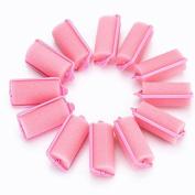 12 Pcs Soft Sponge Hair Curler Rollers Twist Tool, Magic Girl Ladies Hair Care Roller Fashion Salon Hair Style Foam Sponge Curlers Pink by DAXUN