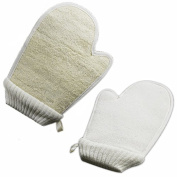2Pcs Double Side Loofah Scrubbing Shower Gloves Bath Gloves Deep Exfoliating Natural Bath Sponge Pouffe Removes Dead Skin Cells Scrub Gloves Loofah Pouffe Towel Washcloth