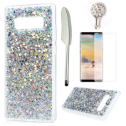 For Samsung Galaxy Note 8 Case,Badalink Samsung Note 8 Cover Bling Glitter Sparkly Flowing Liquid Hybrid Solid Acrylic Hard Back with Shock Absorption TPU Bumper Frame Ultra-Slim Anti-Scratch Protective Cover for Galaxy Note 8,Silver
