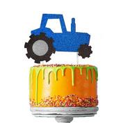 Tractor Cake Topper - Glittery Dark Blue Boys Digger Cake Topper