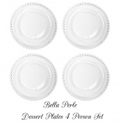Set of Four Bella Perle Glass Dessert Plates with Beaded Edge As Used By Celebrity Chef Nigella Lawson - Perfect For Alfresco Dining, Barbecues, Garden Parties, Dinner Parties, Entertaining, All Seasons and Occasions - Diameter 20.5cm