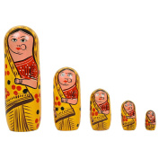 Fine Craft India Set of 5Pcs Hand Painted Cute Wooden Indian Matryoshka Stacking Nested Wood Yellow Dolls