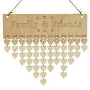 Saihui Wood Birthday Reminder Board Birch Ply Plaque Sign Family & Friends DIY Calendar