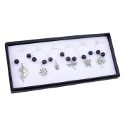 Silver Plated Cat's Eye Glass Wine Glass Charm Rings Earring Beading Hoop Party Favour 6 Pcs