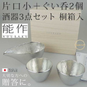 Gift made in ability product one side of the story bookmaking bottle and cup three points set paulownia treasuring sake tin 100% Japan