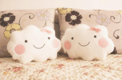 Fengh Girl Smiley Cute Face Cloud Cushions with Bow