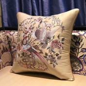 Baozengry Sofa Cushion Pillow Head Embroidery European Flower Soft Waist Pillow Pillowcase With Core By Car,35X50Cm (Pillowcase Heart),Champagne