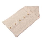 sundatebe Newborn Infant Winter Sleeping Bag Baby Knit Buttoned Swaddle Blanket