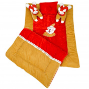 Maple Krafts Velvet and Poly Cotton Baby Bedding set Super soft comfortable 0-18 Months Gold with Red with Pillows
