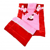 Maple Krafts Velvet and Poly Cotton Baby Bedding set Super soft comfortable 0-18 Months Red with Pink with Pillows