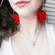 FXmimior Women Fashion Earrings Red Gold Earrings Jewellery