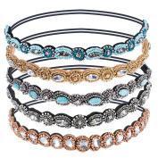 Pangda 5 Pieces Crystal Beads Elastic Hairband Handmade Rhinestone Headband Hair Accessories