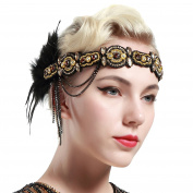 BABEYOND 1920s Flapper Headband Roaring 20s Beaded Gatsby Headpiece Black Feather Headband 1920s Flapper Gatsby Hair Accessories Gold