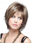 YX Women's Short Blonde Layered Wigs With Side Bangs Natural Human Hair Wigs With Wig Cap
