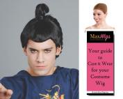 Samurai Japanese Warrior Colour Black - Enigma Wigs Men's Bun Man Anime Full Bundle with Wig Cap, MaxWigs Costume Wig Care Guide