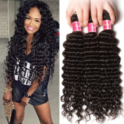 Nadula 6a Remy Virgin Brazilian Deep Wave Human Hair Extensions Pack of 4 Unprocessed Deep Wave Weave Natural Colour Mixed Length