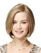 Bob Short Wigs Straight Blonde Wigs Middle-Parting Pixie Wigs High Resistant Synthetic Wigs For Women 28cm