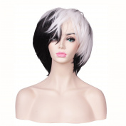 ColorGround Black and White Short Halloween Cosplay Wig for Women