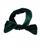 Zac's Alter Ego Women's Velvet Wire Headband With Flared Ends For Bow Finish Approx 80Cm X 7.5Cm Bottle Green