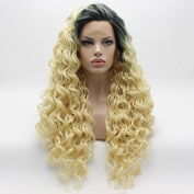 Lace Front Synthetic Wig Curly Long 70cm Dark Root Light Blonde Ombre Wig Stylish Wigs