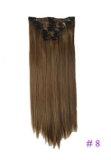60cm Straight Full Head Ombre Dip Dyed Clip-in Hair Extensions 6pcs Pack