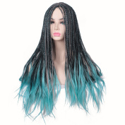 ColorGround Long Black ombre Blue Mixed Colour Braids Halloween Cosplay Wig for Women and Girls