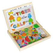 Magnetic Drawing Board Game Wooden Alphabet Letter Jigsaw Puzzles with Wooden Storage Box Scrabble Toy for Kids Children