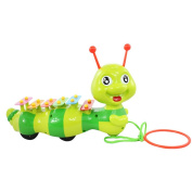TOYMYTOY Dragging Caterpillar Toy Animal Cartoon Rope Xylophone A Sound and Pulling Crawling Toy for Children Toddlers