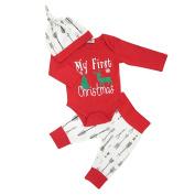 AAA226 4PCs Newborn Baby Christmas Elf Tree Romper + Pants + Hat + Headband Outfit Set