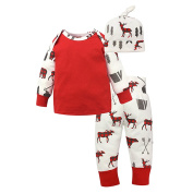 Originaltree Cute Infant Baby Cotton 3Pcs Cloth Set Deer Pattern Long Sleeve Top + Pants + Hat Baby Girl Outfit Set