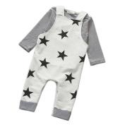 Lenfesh Newborn Baby Girls Boys Tops Romper+Pants+Hat 1Set