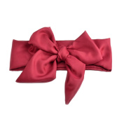 Haodou Baby Girls Rabbit Bow Ear Headbands Turban Knot Tie Headdress Manual Big Bowknot Satin Solid Colour Hair Bands 110cm x 7cm (Dark Red)