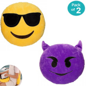 "JZK® 2 x Stuffed plush Emoji cushion devil + Emoji cushion sunglasses cool face, 32cm 12"" Emoji pillow emoticon cushion emoticon pillow Emoji gift toy accessory"