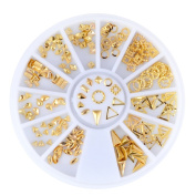 Nail Art DIY Decoration, Bulary 1 Wheel Manicure 3D Nail Art Accessories Gold And Silver 3D Metal Studs in Different Shapes