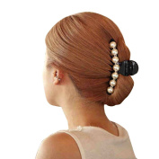 Black Simulation Pearl Claw Clip Hair Tool Accessory Hair Jewellery Hairpin Hair Claw Gripper Side-knotted Clip