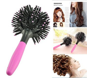 Funwill 3D Comb Spherical Bomb Curl Full Round Hot Curling Styling Brush for Girls and Women