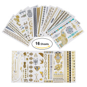 16 Sheets Premium Metallic Henna Tattoos Temporary Metallic Tattoos Flash Temporary Fake Jewellery Tattoos 160 Shimmer Designs in Gold Silver for Festivals / party
