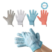 Pretty See Exfoliating Gloves Bathing Double Side Durable Gloves for Shower Removing Cutin, 4 Pairs/Set